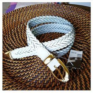 🆕💯% Genuine Leather Braided Belt White Sz. S/M
